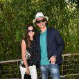Gustavo Kuerten et son épouse Mariana Soncini - Finale hommes du tournoi de tennis de Roland-Garros à Paris, le 7 juin 2015.