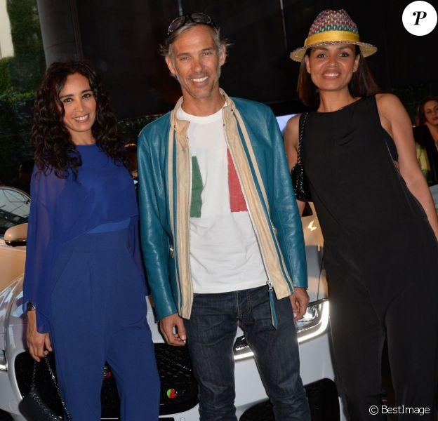 Exclusif - Aïda Touihri, Paul Belmondo et Laurence Roustandjee - Présentation de la nouvelle Jaguar XF à l'Atrium de la banque 1818 à Paris, le 9 juin 2015.