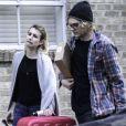 Exclusif - Emma Roberts et son petit ami Evan Peters arrivent a la Nouvelle-Orleans, le 5 janvier 2014.
