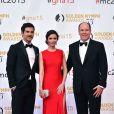 David Giuntoli, Bitsie Tulloch et le prince Albert II de Monaco - Cérémonie des Golden Nymph Awards lors du 55ème Festival de Télévision de Monte Carlo le 18 juin 2015.