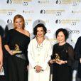 Martyna Wojciechowska a reçu une nymph dans la catégorie Best Society Documentary. Elle pose avec Bianca Jagger présidente du Jury - Cérémonie de remise des prix des Golden Nymph Awards lors du 55ème Festival de Télévision de Monte Carlo le 18 juin 2015.