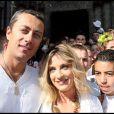 Eve Angeli et son mari Michel au mariage d'Elodie Gossuin et Bertrand Lacherie, à Compiegne, le 1er juillet 2006