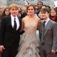 Rupert Grint, Emma Watson et Daniel Radcliffe posent à la première du dernier Harry Potter, à Londres, le 7 juillet 2011.