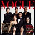 Kanye West, Joan Smalls, Jamie Bochert, Riccardo Tisci, Jessica Chastain, Kozue Akimoto, Mica Arganaraz et Kendall Jenner en couverture du numéro d'août 2015 de Vogue Japan. Photo par Luigi & Iango.