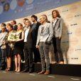 Les comédiens et réalisateurs sur le podium lors du 23e festival du film français au Japon d'UniFrance, (Tokyo, juin 2015)