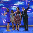 Sasha, Malia, Michelle et Barack Obama à Charlotte, le 6 septembre 2012.