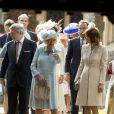 Camilla Parker Bowles, Michael et Carole Middleton lors du baptême de la princesse Charlotte en l'église Saint Mary Magdalene de Sandringham, le 5 juillet 2015