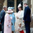 Le prince William, Kate Middleton, la duchesse de Cambridge, leur fils le prince George de Cambridge, la princesse Charlotte de Cambridge, Philip duc d'Edimbourg, la reine Elisabeth II et Camilla Parker Bowles, la duchesse de Cornouailles lors du baptême de la princesse Charlotte en l'église Saint Mary Magdalene de Sandringham, le 5 juillet 2015