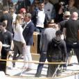 Antonio Banderas et sa compagne Nicole Kimpel - L'acteur Antonio Banderas tourne une publicité sur un yacht à Barcelone le 28 mai 2015.