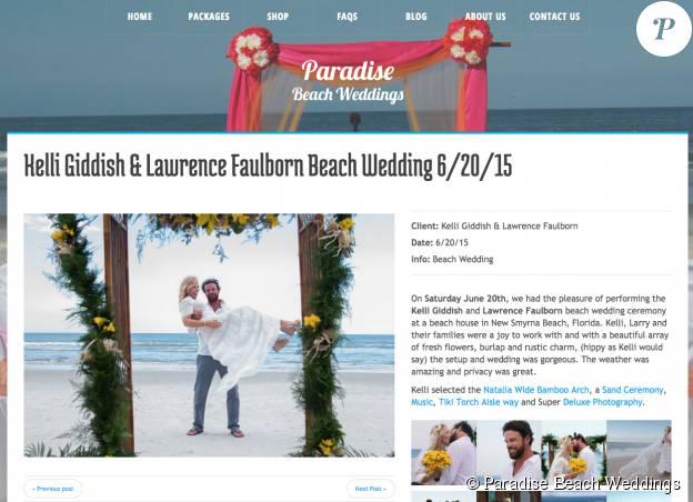 Kelli Giddish (New York : Unité Spéciale) s'est mariée le 20 juin 2015 avec son compagnon Lawrence Faulborne sur une plage de Floride, avec le concours de Paradise Beach Weddings.