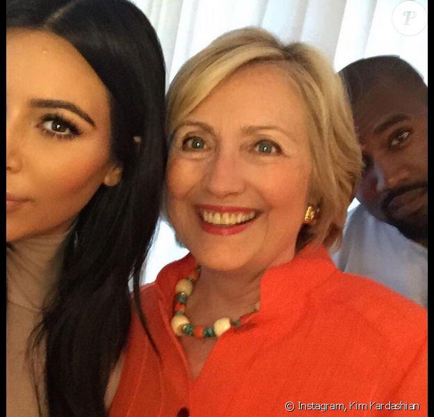 Kim Kardashian, Hillary Clinton et Kanye West à Los Angeles. Photo publiée le 6 août 2015.