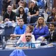 Fabio Fognini lors de la finale dame de l'US Open entre sa compagne Flavia Pennetta et Roberta Vinci à l'USTA Billie Jean King National Tennis Center de Flushing dans le Queens à New York le 12 septembre 2015