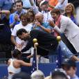 Flavia Pennetta et son compagon Fabio Fognini après sa finale victorieuse de l'US Open à l'USTA Billie Jean King National Tennis Center de Flushing dans le Queens à New York, le 12 septembre 2015
