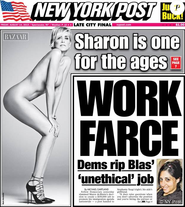 A 57 ans, Sharon Stone pose nue sur la couverture du quotidien new yorkais New York Post du 14 août 2015. La photo fait partie s'une série publiée par le mensuel Harper's Bazaar.