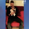 Benjamin Machet dévoile la première photo de son fils sur le plateau du  Mag de la téléréalité  sur NRJ12. Le 21 septembre 2015.