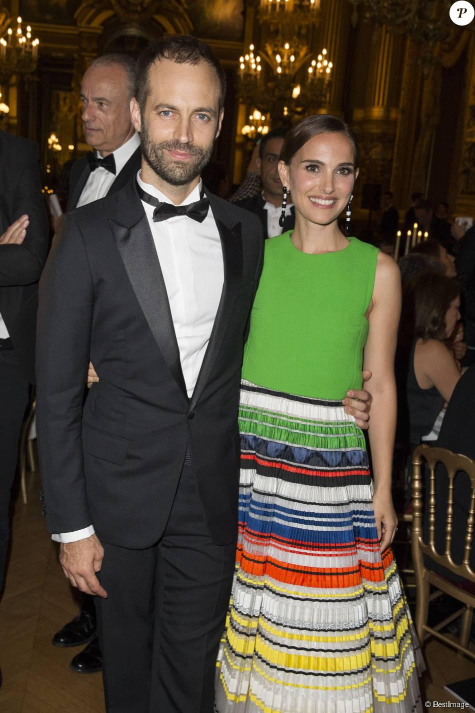 Natalie Portman (boucles d'oreille De Grisogono) et son mari Benjamin Millepied - Gala d'ouverture de la saison du Ballet de l'Opéra national de Paris, le 24 septembre 2015.