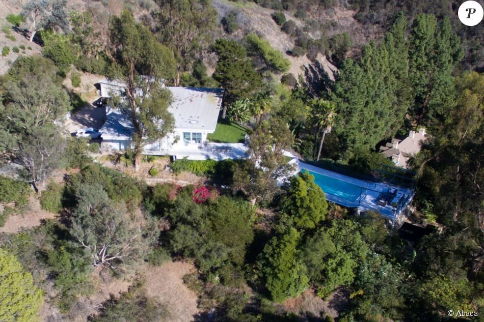 Vue aérienne de la nouvelle maison de Gavin Rossdale dans le quartier de Bel Air à Los Angeles, le 30 septembre 201, qu'il vient d'acquérir depuis son divorce d'avec sa femme Gwen Stefani. La maison possède 5 chambres et une piscine.