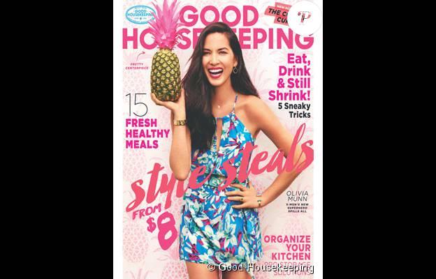 Olivia Munn en couverture de Good Housekeeping, numéro d'août 2015, dans lequel elle évoque notamment l'influence positive de son amoureux Aaron Rodgers.