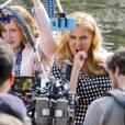 """Exclusif - Amy Schumer sur le tournage de """"Saturday Night Live"""" avec Vanessa Bayer et Aidy Bryant à Central Park à New York, le 8 octobre 2015."""