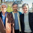 Exclusif - Jean-Paul Belmondo, son fils Paul et le producteur Cyril Viguier fêtent la concrétisation du documentaire, tourné pour TF1 sur Jean-Paul Belmondo, le 20 mars 2014.
