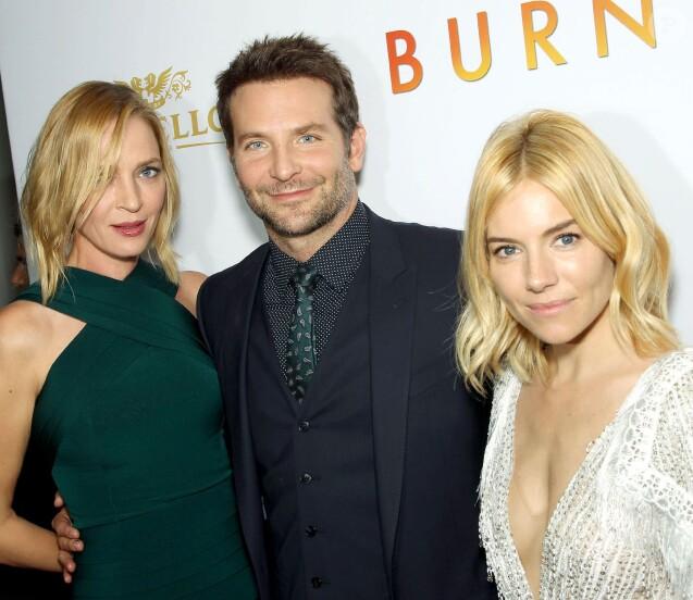 Uma Thurman, Bradley Cooper, Sienna Miller à la première du film Burnt (À vif) à New York le 20 octobre 2015.