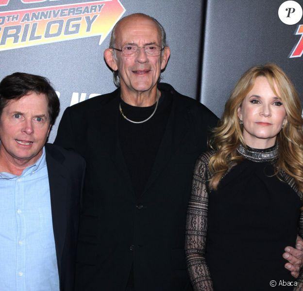 """Michael J. Fox, Christopher Lloyd et Lea Thompson au 30e anniversaire de la saga """"Retour vers le futur"""" au AMC Loews Lincoln Square 13 à New York, le 21 octobre 2015."""