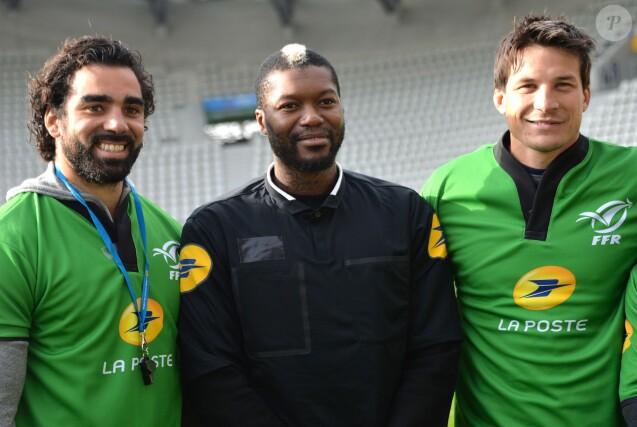 Yoann Huget, Djibril Cissé, François Trinh-Duc lors des Journées Nationales de l'arbitrage au stade Jean Bouin le 21 octobre 2015 à Paris
