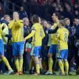 La Suède de Zlatan Ibrahimovic a pu fêter sa qualification pour l'Euro 2016 après son match nul contre le Danemark le 17 novembre 2015 à Copenhague