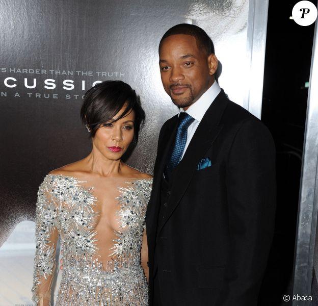Will Smith et sa femme Jada Pinkett-Smith à Los Angeles pour l'avant-première du film Seul contre tous (Concussion) le 23 novembre 2015