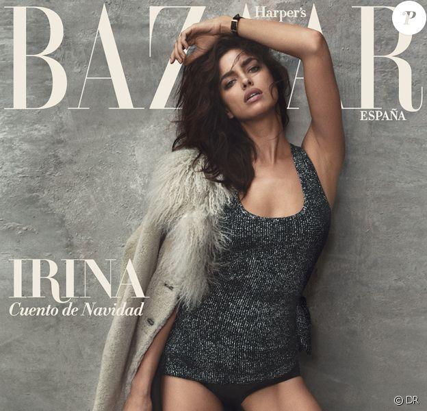 Irina Shayk en couverture du numéro de décembre 2015 du magazine Harper's Bazaar España. Photo par Norman Jean Roy.