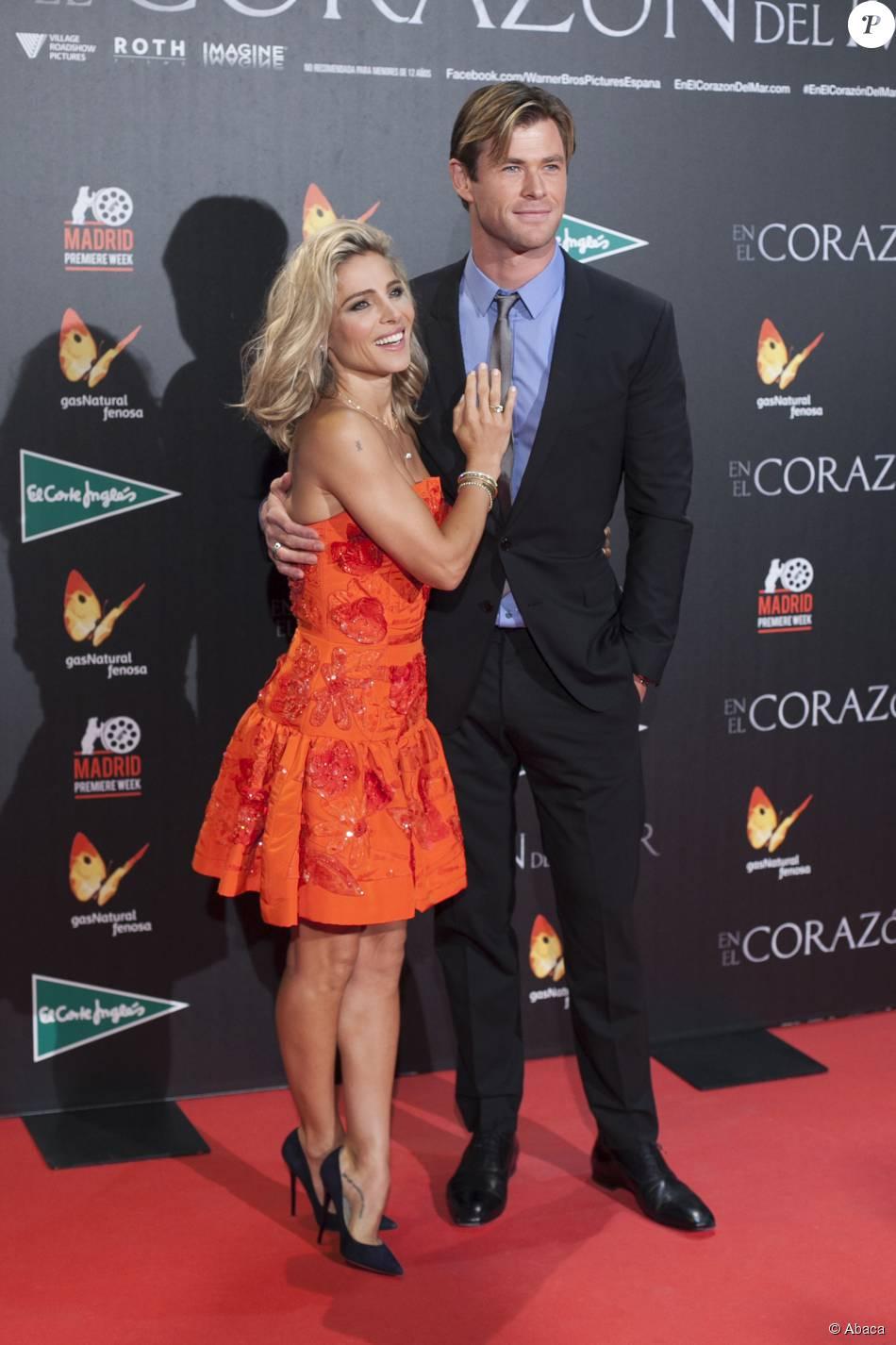Chris Hemsworth et sa femme Elsa Pataky - Avant-première du film Au coeur de l'océan à Madrid le 3 décembre 2015