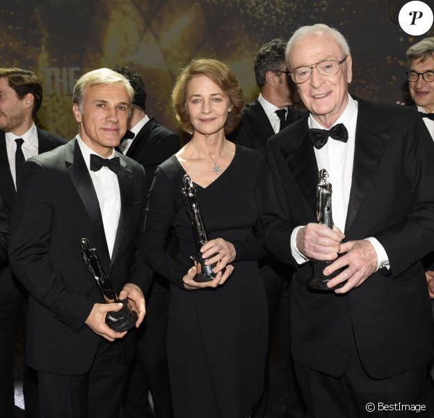 """Christoph Waltz (Prix European Achievement In World Cinema), Charlotte Rampling (Meilleure actrice), Michael Caine (Meilleur acteur) - Remise des prix lors de la 28ème cérémonie des """"European Film Awards"""" à Berlin, le 12 décembre 2015."""