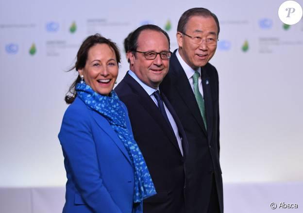 Ségolène Royal, François Hollande et Ban Ki-moon à la COP21 au Bourget, décembre 2015.