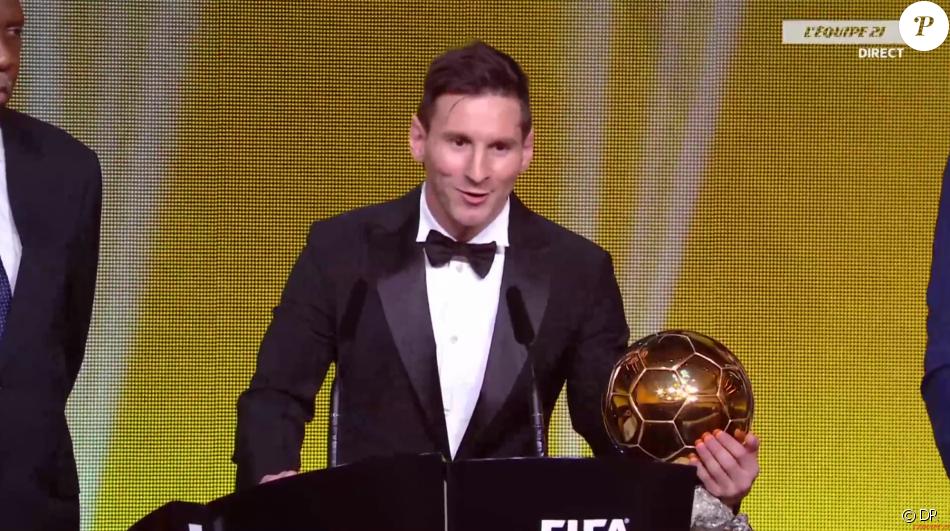 Lionel Messi, Ballon d'or 2015 à Zurich le 11 janvier 2016.