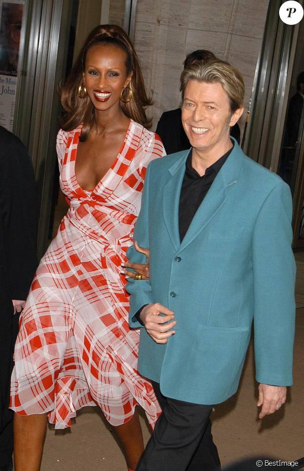 David Bowie et sa femme Iman au Lincoln Center à New York le 5 mai 2003