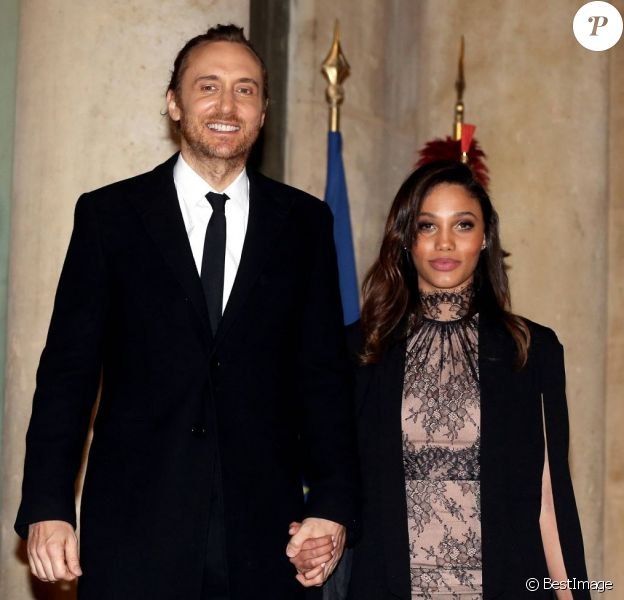 David Guetta et Jessica Ledon au dîner d'état donné en l'honneur du président cubain Raul Castro au palais de l'Elysée à Paris, le 1er février 2016. ©Dominique Jacovides/Bestimage