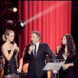 Laeticia, Michel Drucker et Natasha St Pier à l'émission Les stars chantent Edith Piaf pour Plus de Vie, le 13/10/08