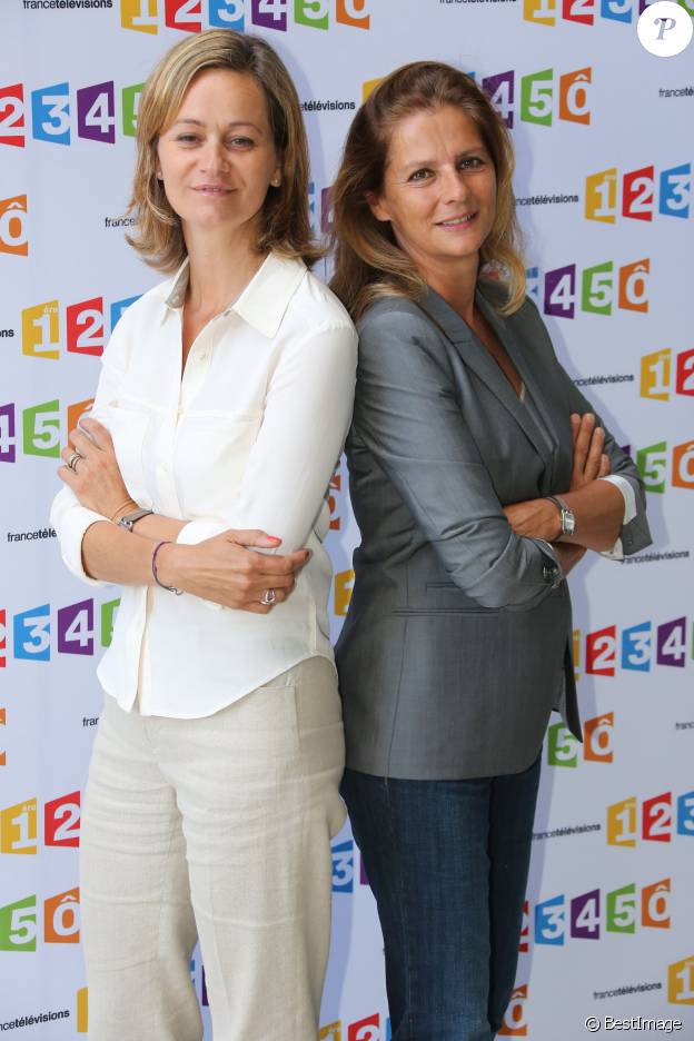 Guilaine Chenu et François Joly, le duo d'Envoyé Spécial en août 2012 à Paris lors de la conférence de rentrée de France Télévisions.