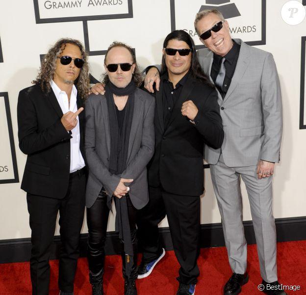 Metallica (Kirk Hammett, Lars Ulrich, Robert Trujillo et James Hetfield) lors des 56e Grammy Awards à Los Angeles le 26 janvier 2014.