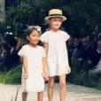 Hélène Darroze, fière de ses filles adoptives Charlotte et Quitterie qui ont défilé pour la marque Bonpoint lors de la Fashion Week parisienne qui présentait les collections printemps-été 2016. le 4 octobre 2015. Ici on peut voir Quitterie.