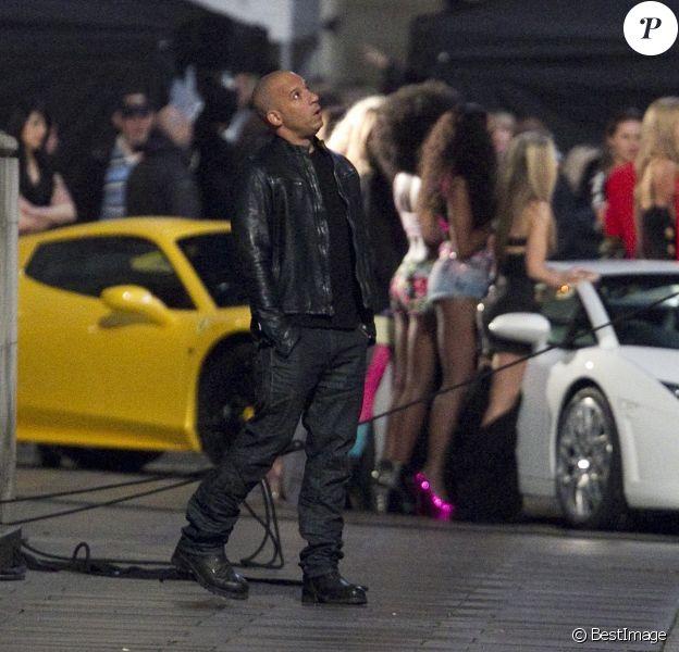 Exclusif - Vin Diesel sur le Tournage de 'Fast and Furious 6' à Londres le 23 Septembre 2012.