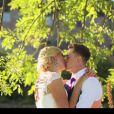 Rebecca Adlington et son époux Harry Needs le jour de leur mariage, le 31 août 2014