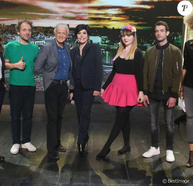 Exclusif - Keren Ann, Mathieu Boogaerts, Dave, Liane Foly, Luce, Marvin Jouno et Amanda Scott, lors du tournage de l'émission Du côté de chez Dave, enregistrée le 18 février 2016 pour une diffusion le 17 avril 2016 sur France 3.