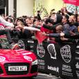 David Hasselhoff et sa compagne Hayley Roberts à l'arrivée du rallye Gumball 3000 à Londres le 2 mai 2016.
