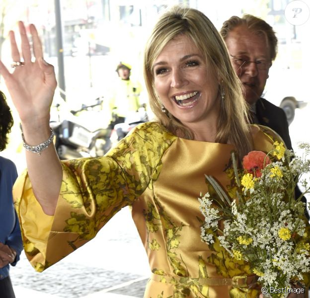 La reine Maxima des Pays-Bas arrive au premier anniversaire de la Fédération des fonds de pension au forum de La Haye le 17 mai 2016, le jour de son 45e anniversaire.