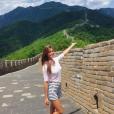 Iris Mittenaere sur la muraille de Chine, le 24 mai 2016.