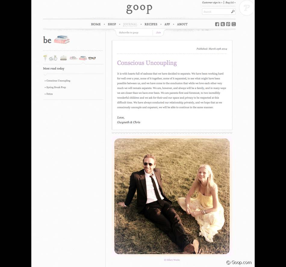 Gwyneth Paltrow et Chris Martin ont annoncé officiellement leur rupture sur le site de l'actrice, Goop.com, le 25 mars 2014. Le court communiqué est accompagné d'une très belle photo du couple signée Hilary Weeks.