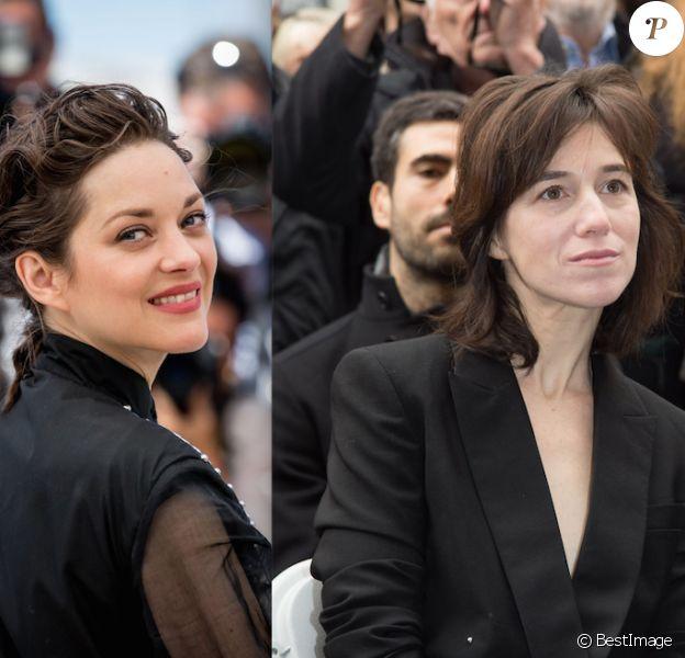 Marion Cotillard au Festival de Cannes 2016 - Charlotte Gainsbourg à Paris le 10 mars 2016(photomontage)
