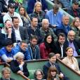 Michaël Llodra, Sergi Bruguera, Sébastien Grosjean, Arnaud Lagardère et sa femme Jade Foret - People dans les tribunes des internationaux de France de tennis à Roland Garros le 1er juin 2016. © Dominique Jacovides / Bestimage