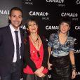 Bertrand Chameroy , Isabelle Morini-Bosc et Erika Moulet - Soirée des animateurs du Groupe Canal+ au Manko à Paris. Le 3 février 2016.